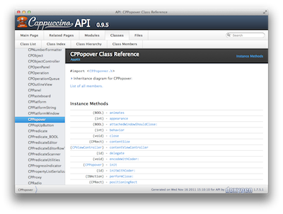 Cappuccino 0.9.5 documentation screenshot.