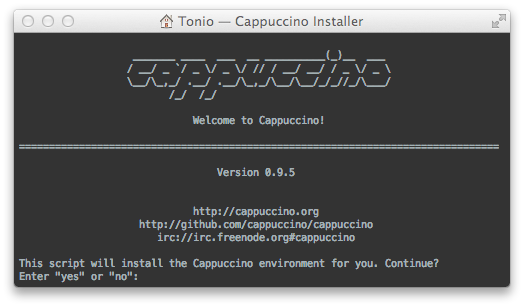 Cappuccino's bootstrap.sh running in a terminal window.