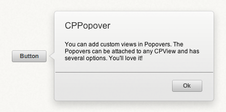 A CPPopover control originating from a button.