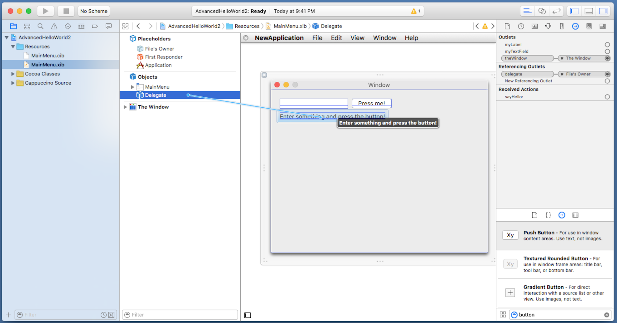 Drawing Lines Xcode : Cappuccino tutorial xcode interface builder